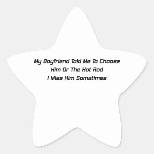 Mi novio me dijo él o a la Srta. del coche de Pegatina En Forma De Estrella