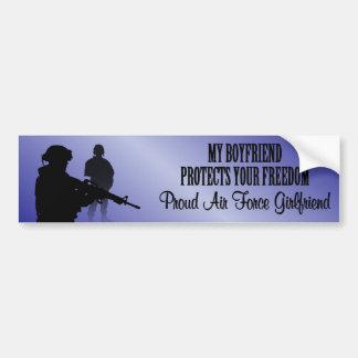 Mi novio protege su libertad (chica de la fuerza a pegatina para auto