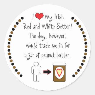 Mi organismo rojo y blanco irlandés ama la pegatina redonda