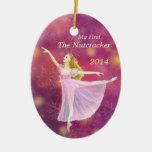 Mi ornamento conmemorativo del primer ballet del adorno navideño ovalado de cerámica