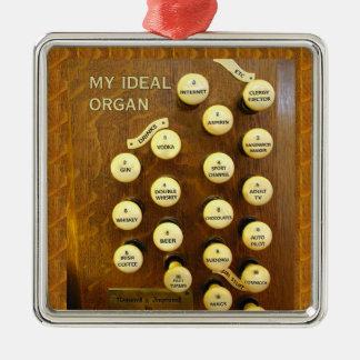Mi ornamento ideal del cuadrado del órgano adorno navideño cuadrado de metal
