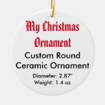 Mi ornamento plano de cerámica de encargo del adorno navideño redondo de cerámica