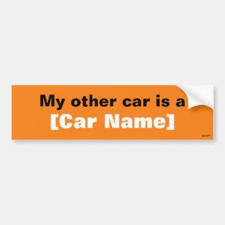 Mi otro coche es… (Naranja) Pegatina Para Auto