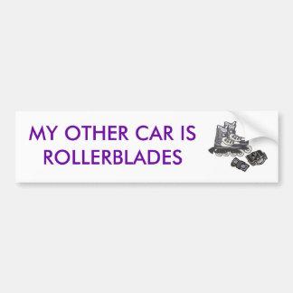 mi otro coche es rollerblades pegatina para auto