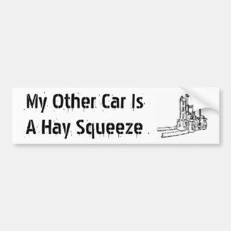 Mi otro coche es un apretón del heno pegatina para auto