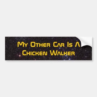 Mi otro coche es un caminante del pollo etiqueta de parachoque