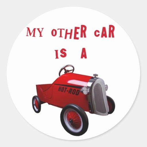 Mi otro coche es un coche de carreras pegatinas redondas