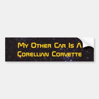 Mi otro coche es un Corvette de Corellian Pegatina De Parachoque