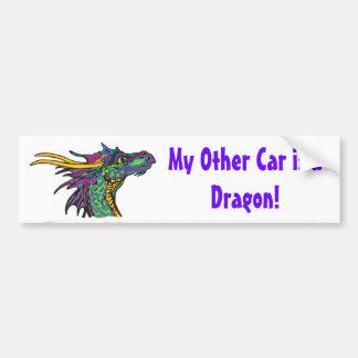 Mi otro coche es un dragón pegatina de parachoque