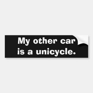 Mi otro coche es un unicycle. pegatina de parachoque