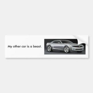 Mi otro coche es una bestia. /Silver Pegatina Para Auto