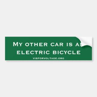 Mi otro coche es una bicicleta eléctrica pegatina de parachoque