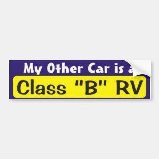 """Mi otro coche es una clase """"B"""" rv Pegatina De Parachoque"""