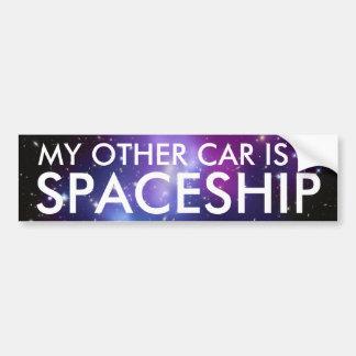 Mi otro coche es una nave espacial etiqueta de parachoque