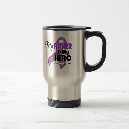 Mi padre es mi héroe - cinta púrpura taza de viaje de acero inoxidable