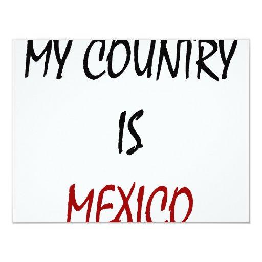 Mi país es México Invitación 10,8 X 13,9 Cm
