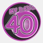 Mi papá 40 etiqueta redonda
