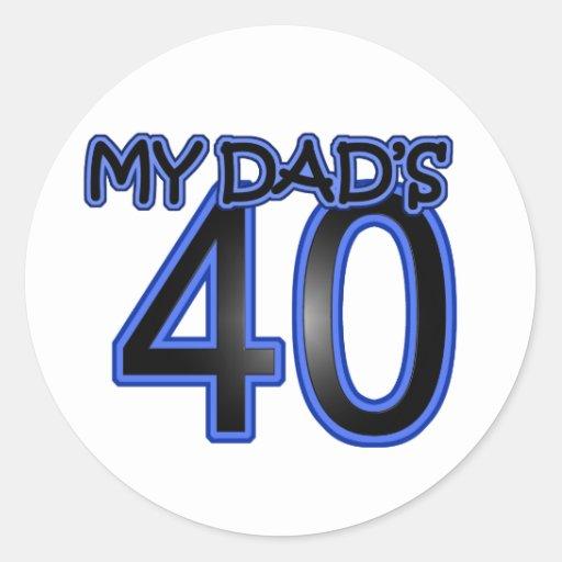 Mi papá 40 pegatina redonda