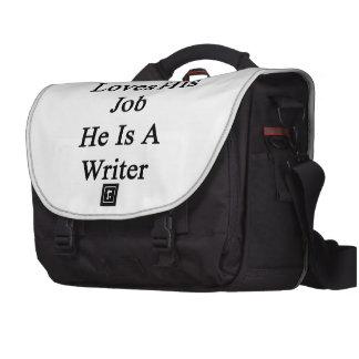 Mi papá ama su trabajo que él es escritor bolsas de portátil