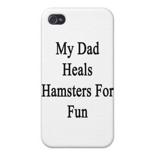 Mi papá cura los hámsteres para la diversión iPhone 4 cárcasa