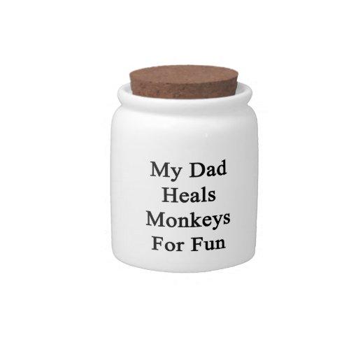 Mi papá cura los monos para la diversión platos para caramelos