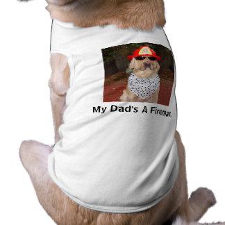 Mi papá es bombero playera sin mangas para perro