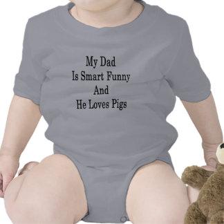 Mi papá es divertido elegante y él ama cerdos trajes de bebé