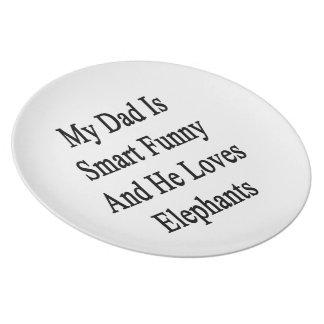 Mi papá es divertido elegante y él ama elefantes plato