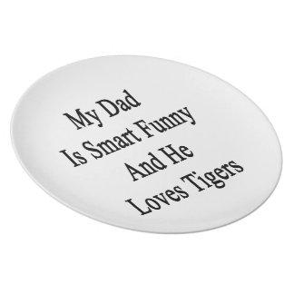 Mi papá es divertido elegante y él ama tigres plato de comida