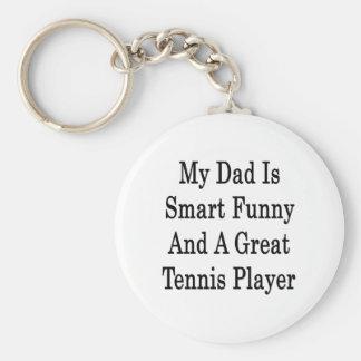 Mi papá es divertido elegante y gran jugador de te llavero redondo tipo pin