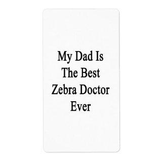 Mi papá es el mejor doctor Ever de la cebra Etiquetas De Envío