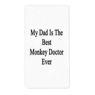 Mi papá es el mejor doctor Ever del mono Etiqueta De Envío