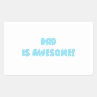 Mi papá es impresionante en azul pegatina rectangular