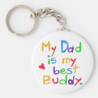 ¡Mi papá es mi mejor compinche! ¡Día de padre feli Llavero Redondo Tipo Pin