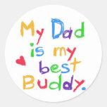 ¡Mi papá es mi mejor compinche! ¡Día de padre feli Pegatinas Redondas