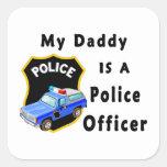 Mi papá es oficial de policía calcomania cuadradas