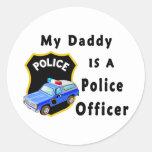 Mi papá es oficial de policía etiquetas redondas