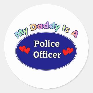 Mi papá es oficial de policía pegatina redonda