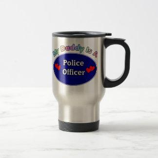 Mi papá es oficial de policía taza de viaje de acero inoxidable
