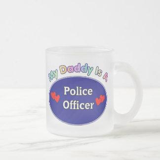 Mi papá es oficial de policía taza cristal mate