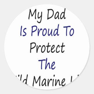 Mi papá es orgulloso proteger la vida marina pegatina redonda
