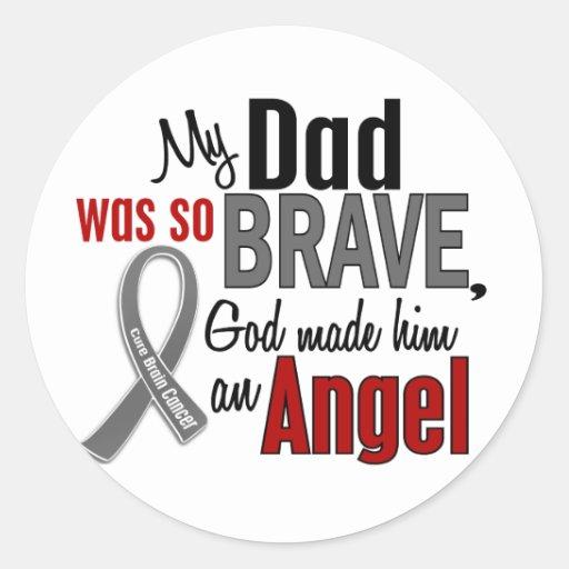 Mi papá es un cáncer de cerebro del ángel 1 etiqueta redonda