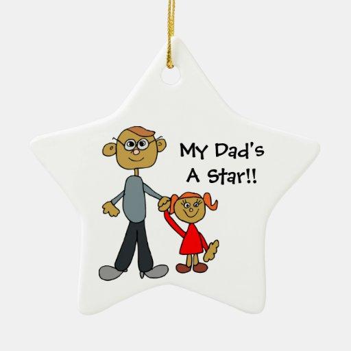Mi papá es un ornamento del navidad de la estrella adorno navideño de cerámica en forma de estrella
