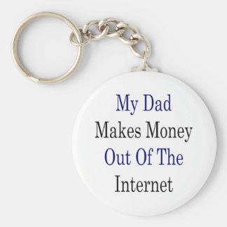 Mi papá hace el dinero fuera del Internet Llavero Redondo Tipo Pin