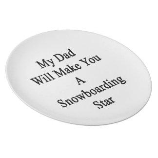 Mi papá le hará una estrella de la snowboard platos para fiestas