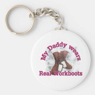 Mi papá lleva Workboots real (el rosa) Llavero Redondo Tipo Pin