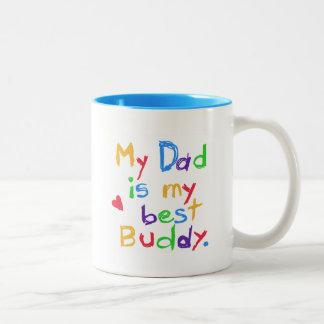 Mi papá mis mejores camisetas y regalos del taza dos tonos