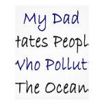 Mi papá odia la gente que contamina el océano tarjetón