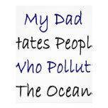 Mi papá odia la gente que contamina el océano membrete