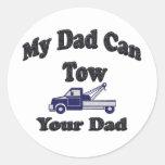 Mi papá puede remolcar a su papá pegatinas redondas
